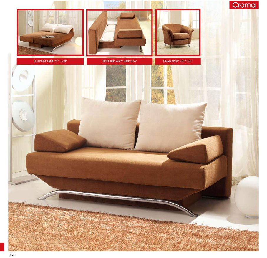 Croma brown fabric sofa bed by esf for Sofa bed name