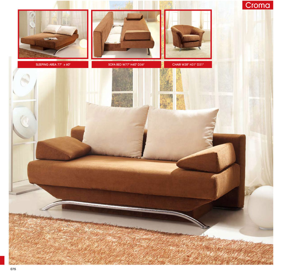 Croma brown fabric sofa bed by esf - Beds for small bedrooms ...