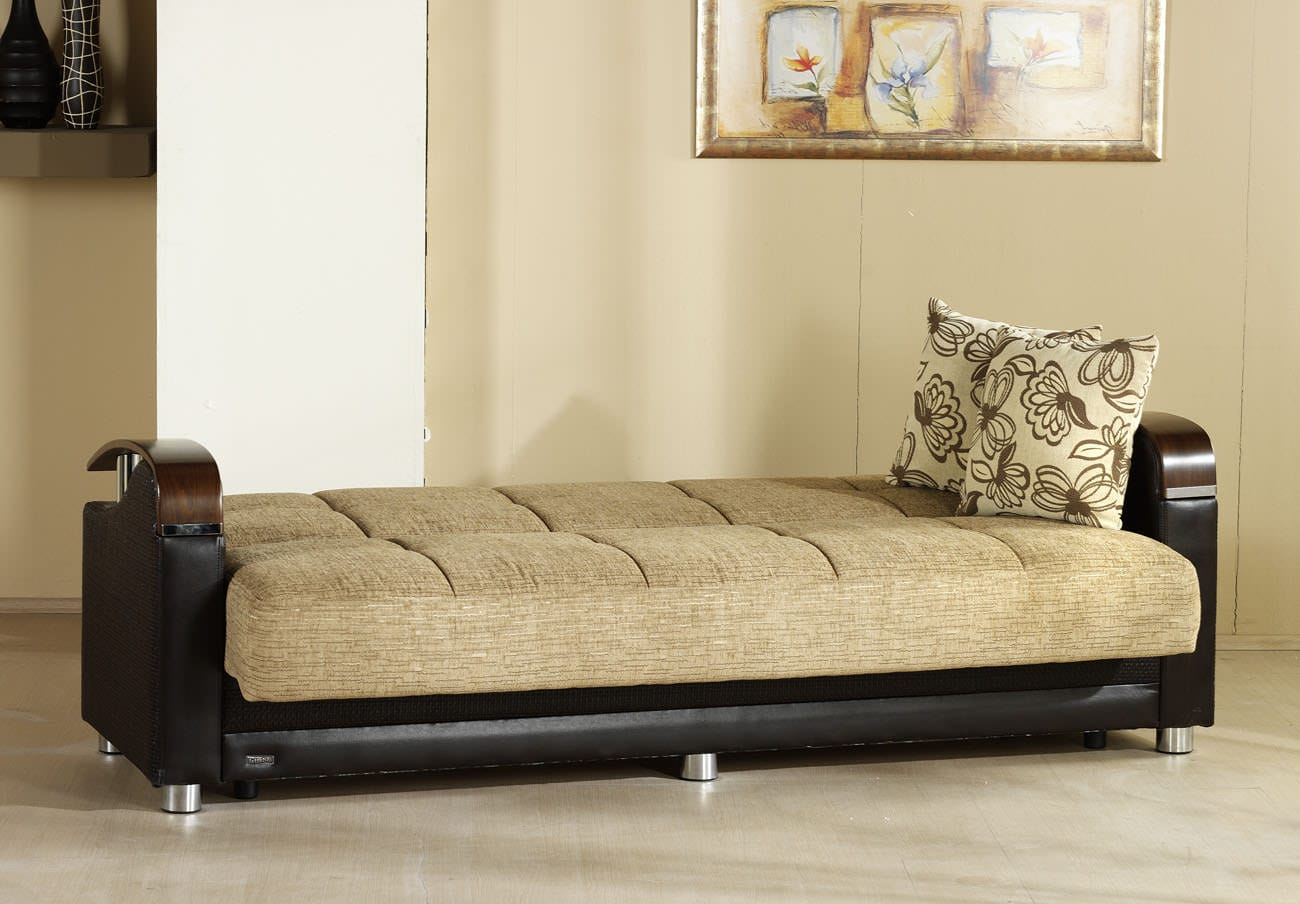 Luna Fulya Brown Convertible Sofa Bed by Sunset