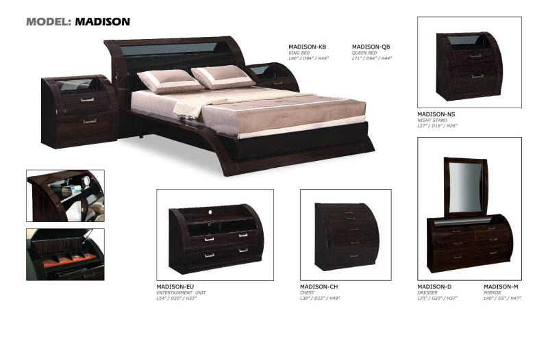 Madison Black/Zebrano Glossy Bedroom Set by Global Furniture