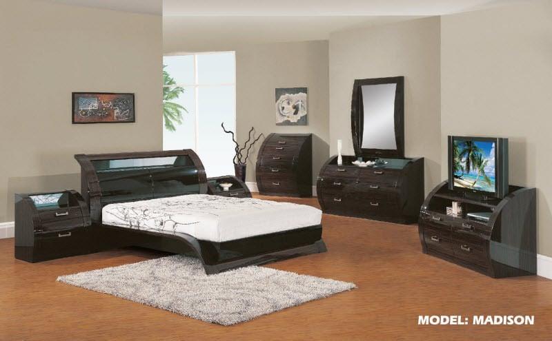 Madison Black/Zebrano Glossy Bedroom Set by Global Furniture