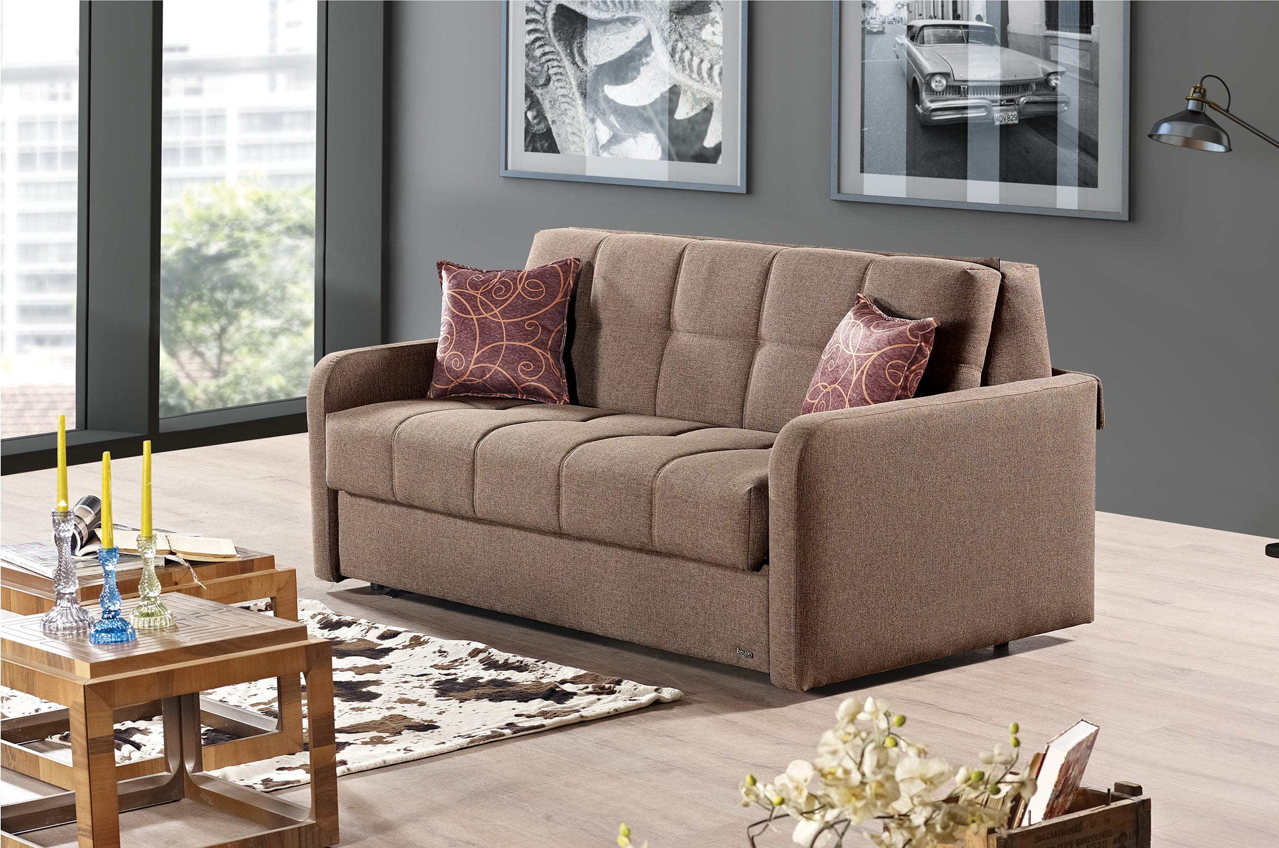 Madrid Brown Fabric Sofa Bed By Empire Furniture Usa