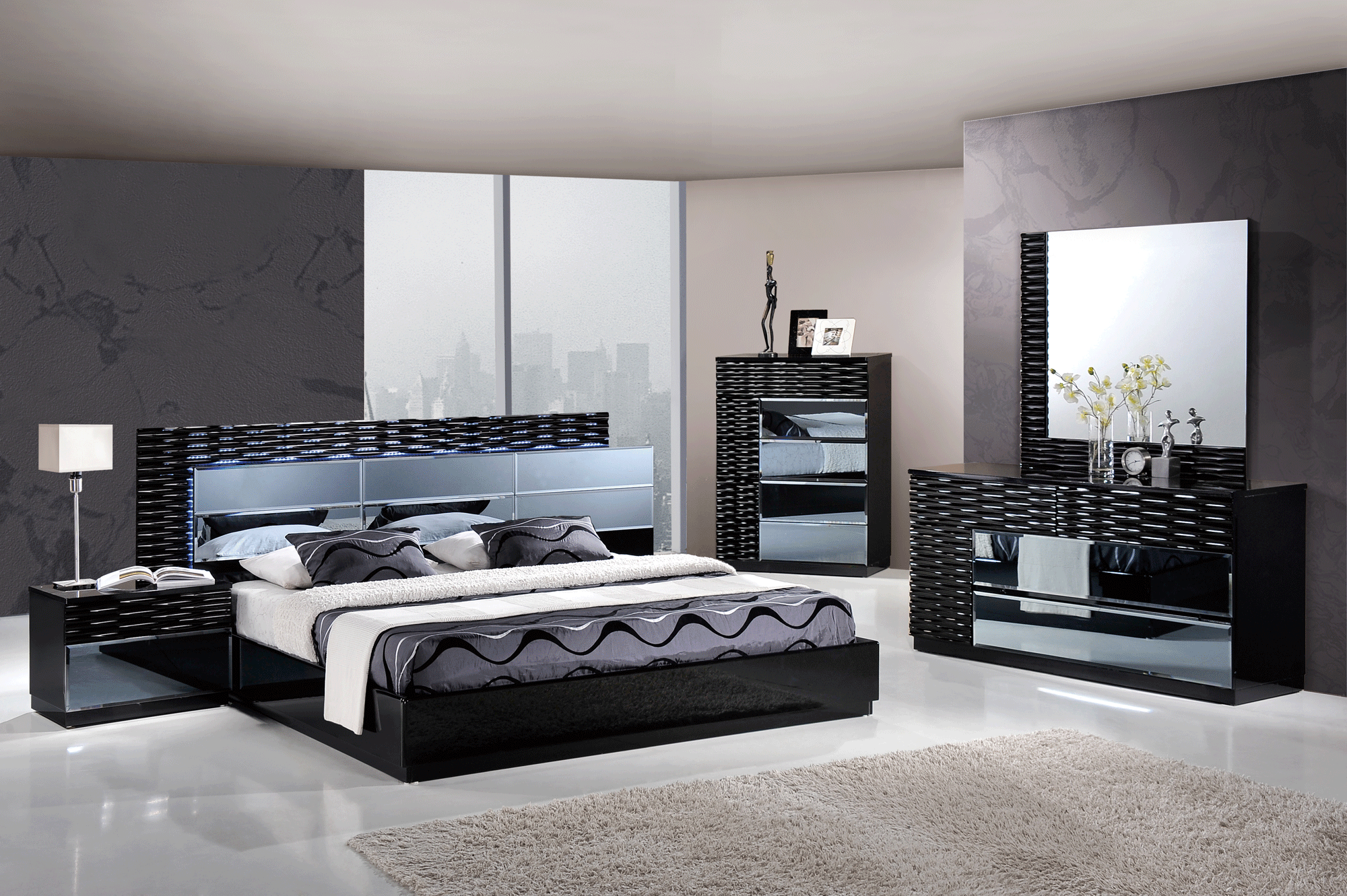 Manhattan Black Glossy Bedroom Set By Global Furniture