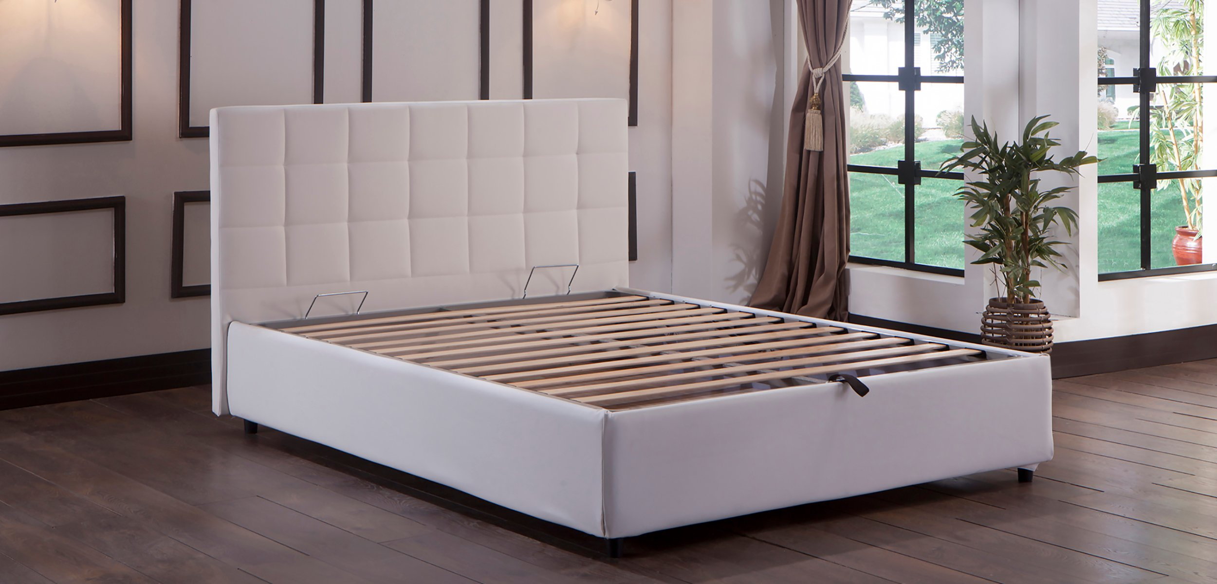 Charmant Manila Platform Bed W/Headboard Queen Size Escudo White By Istikbal (Sunset)