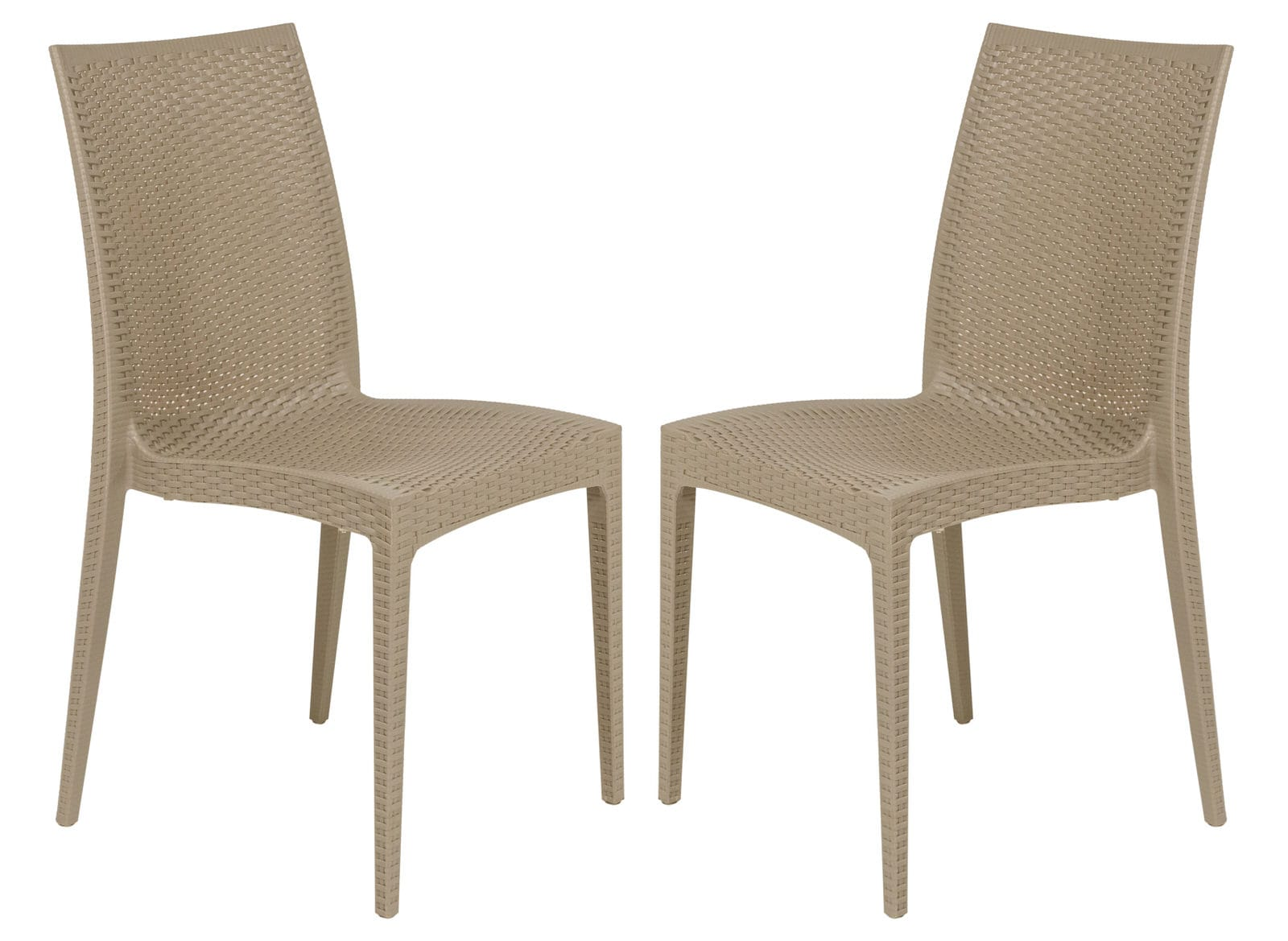 Outstanding Weave Mace Taupe Armless Dining Chair Set Of 2 By Leisuremod Creativecarmelina Interior Chair Design Creativecarmelinacom