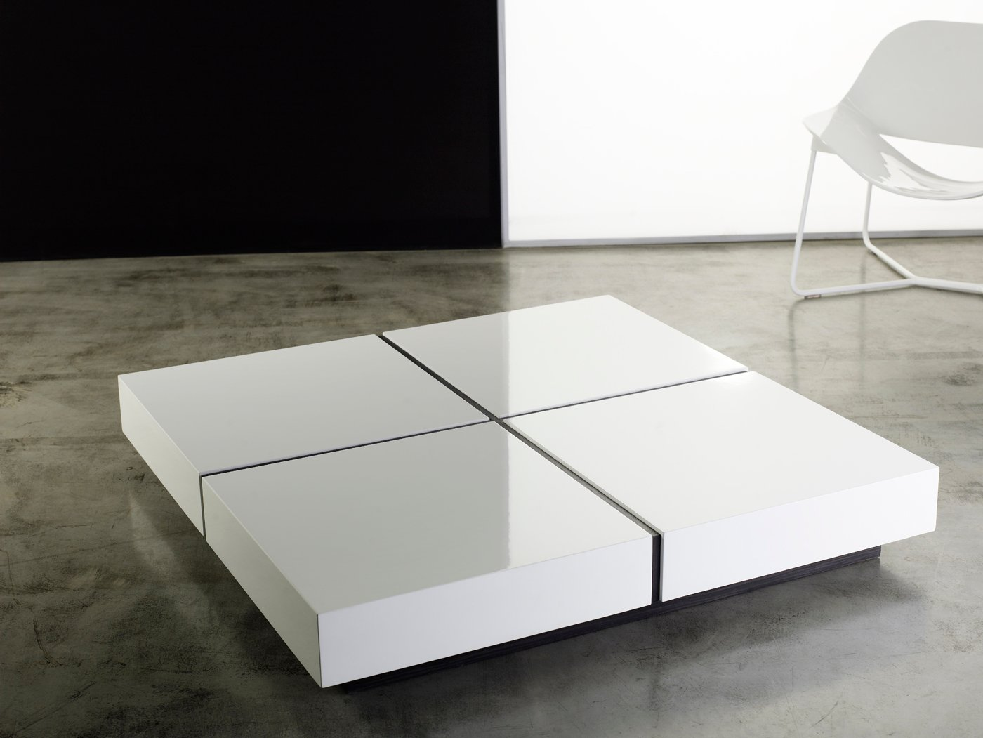 . dean coffee table white lacquer by modloft