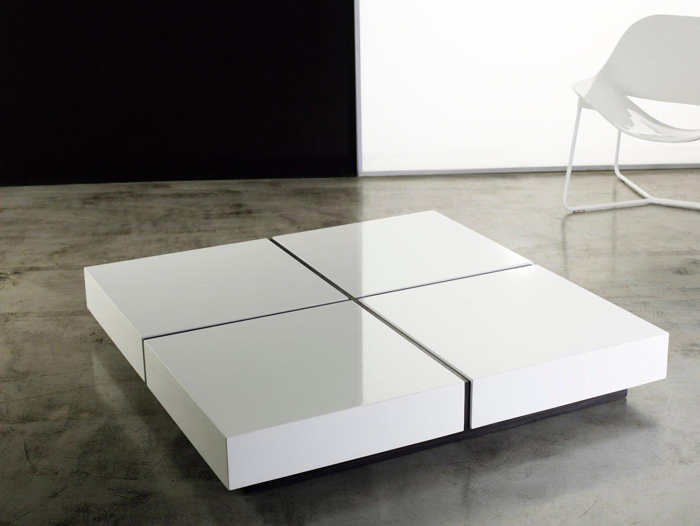 Dean coffee table white lacquer by modloft