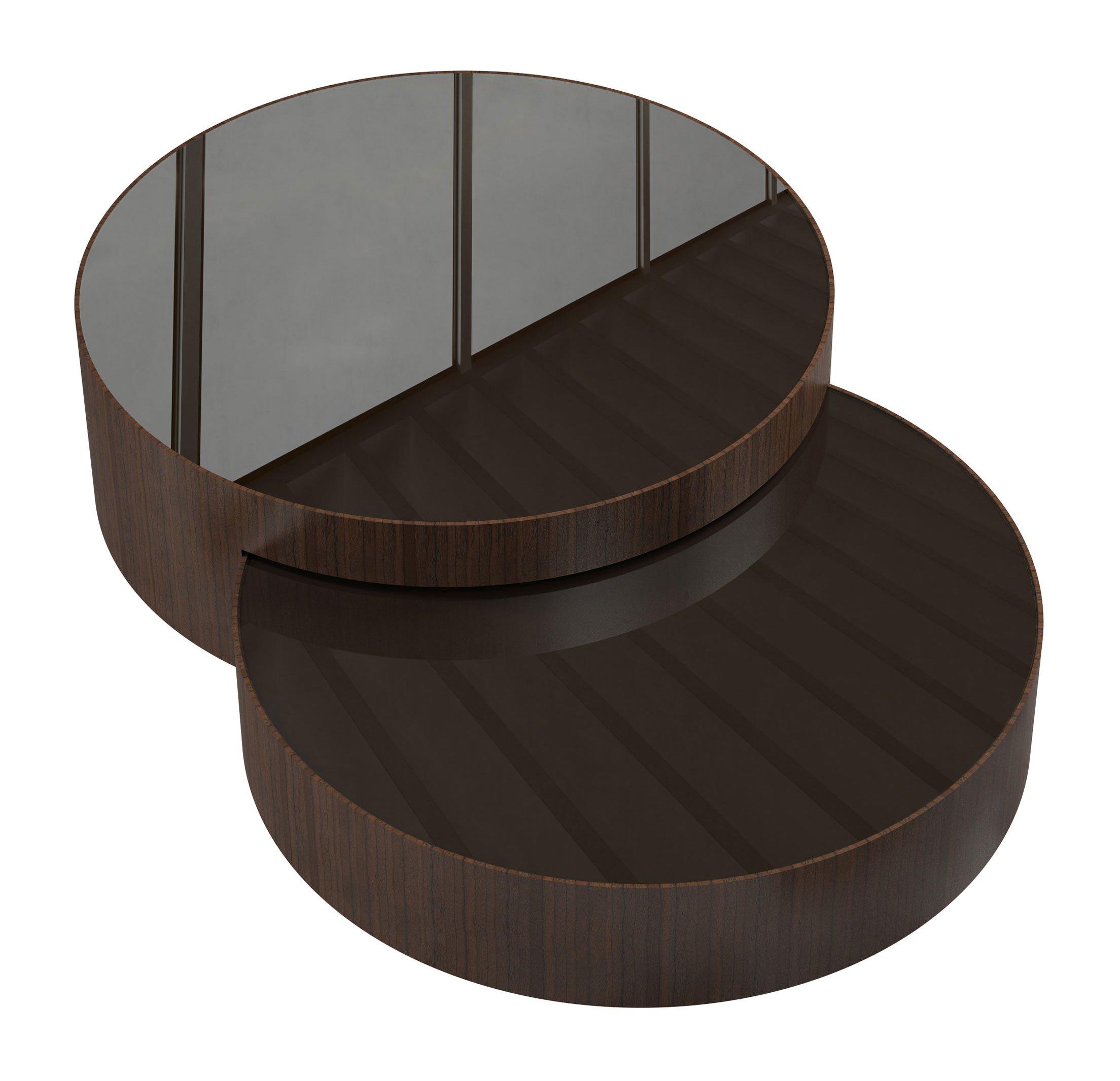 Berkeley Nesting Coffee Table Brown Glass on Rovere Grigio by Modloft