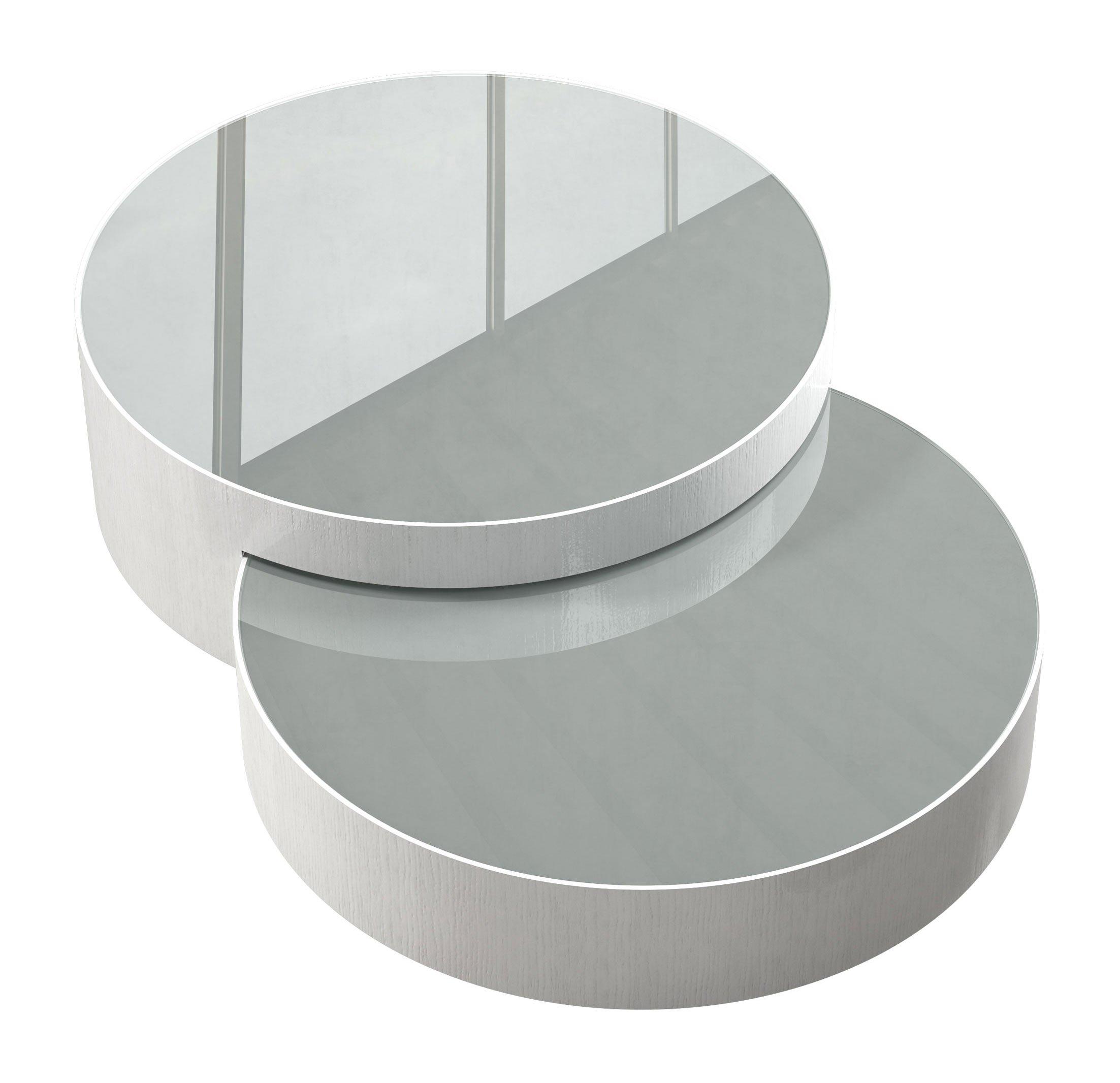 Berkeley Nesting Coffee Table White Glass on White Oak by Modloft
