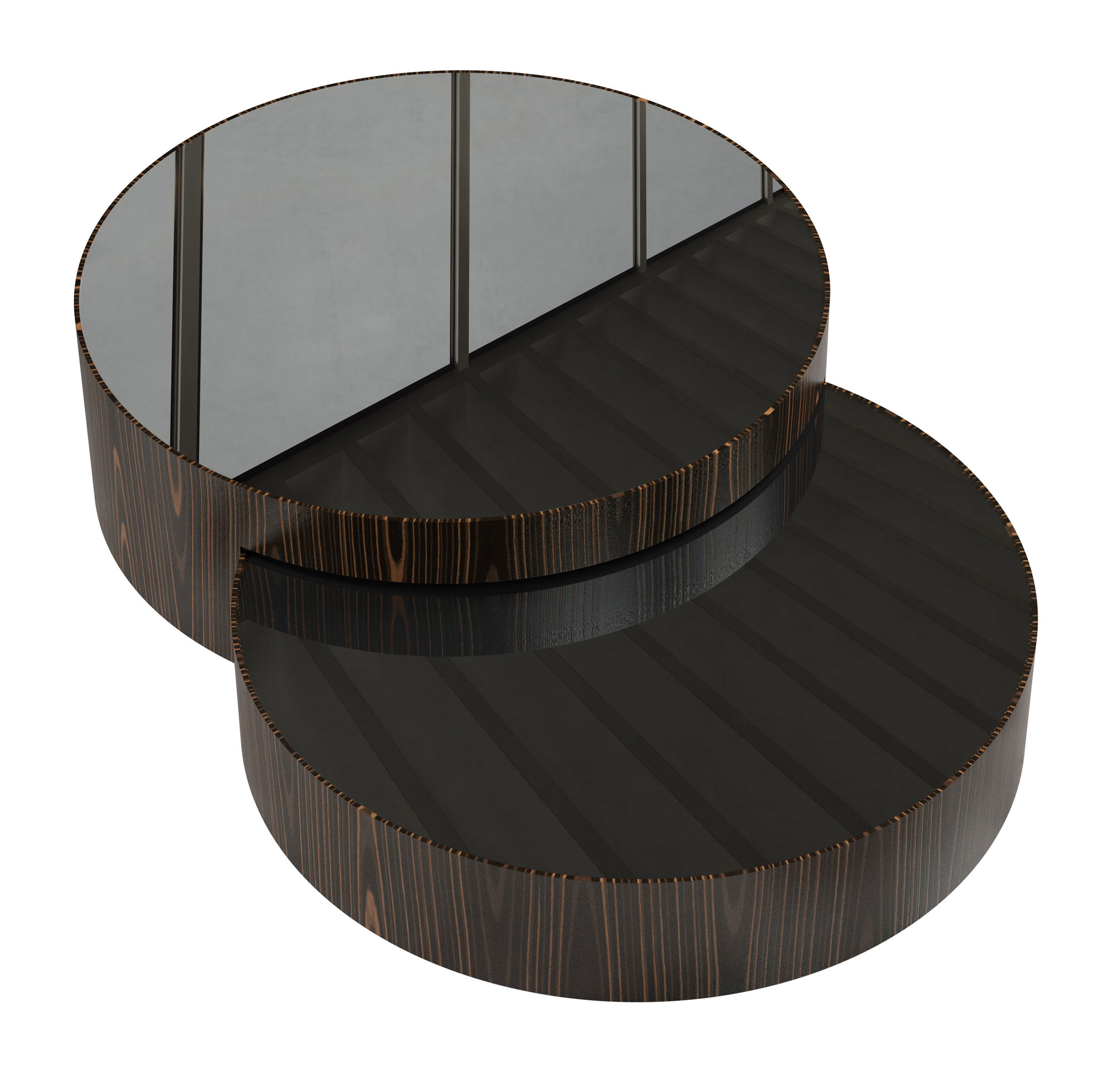 Berkeley Nesting Coffee Table Black Glass on Cathedral Ebony by