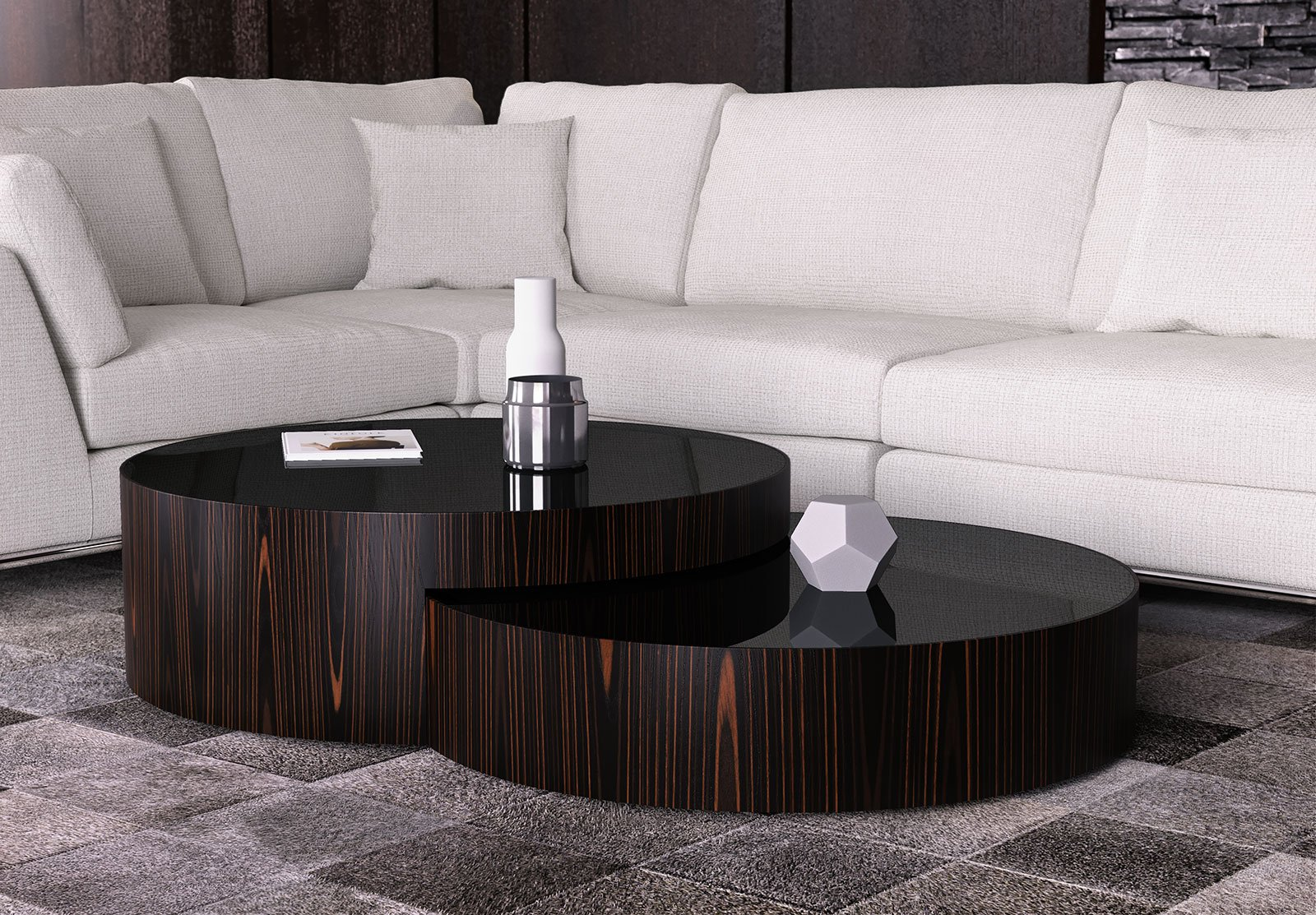 Superb Berkeley Nesting Coffee Table Black Glass On Cathedral Ebony By Modloft