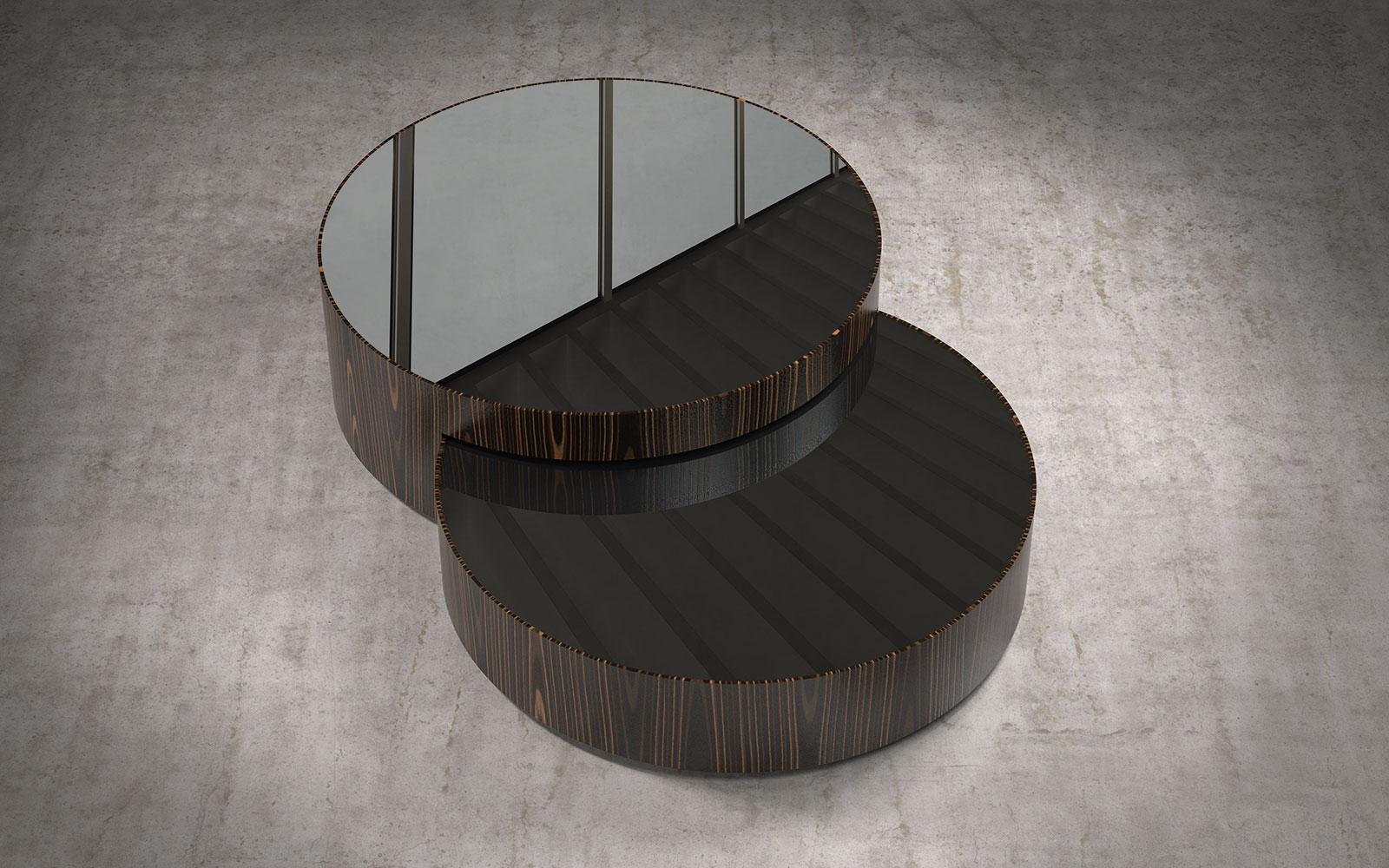 Berkeley Nesting Coffee Table Black Glass On Cathedral Ebony By Modloft