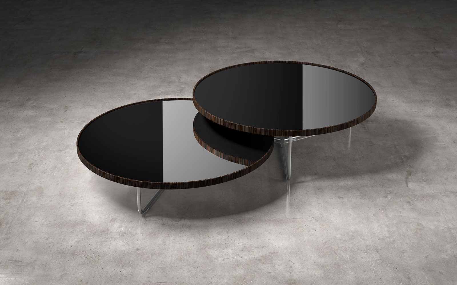 Adelphi Nesting Coffee Table Black Lacquer On Cathedral Ebony By Modloft