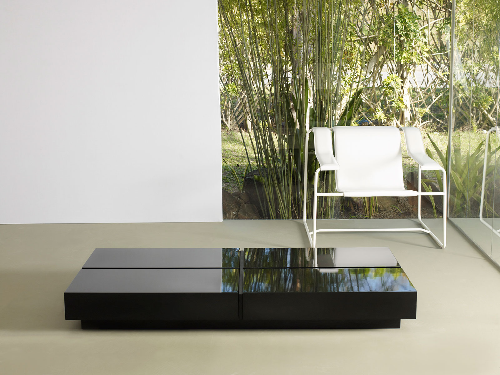 Dean 63 Inch Coffee Table Black Lacquer by Modloft