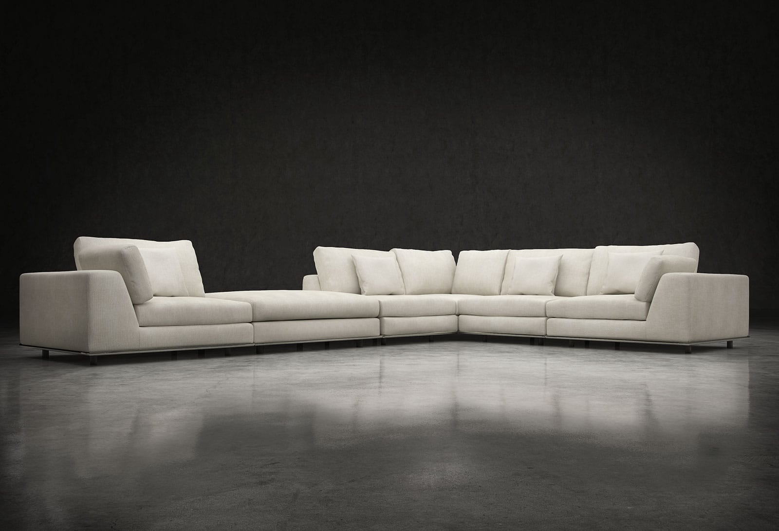 Perry L Sectional Sofa with Ottoman Moonbeam by Modloft