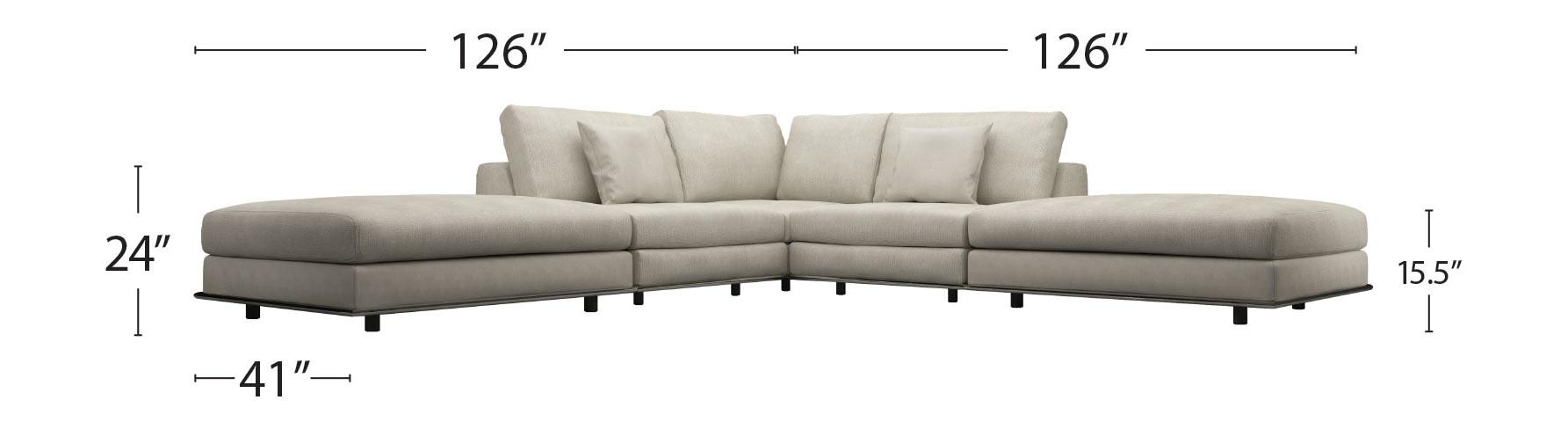 Perry Armless Corner Sectional Sofa Moonbeam By Modloft