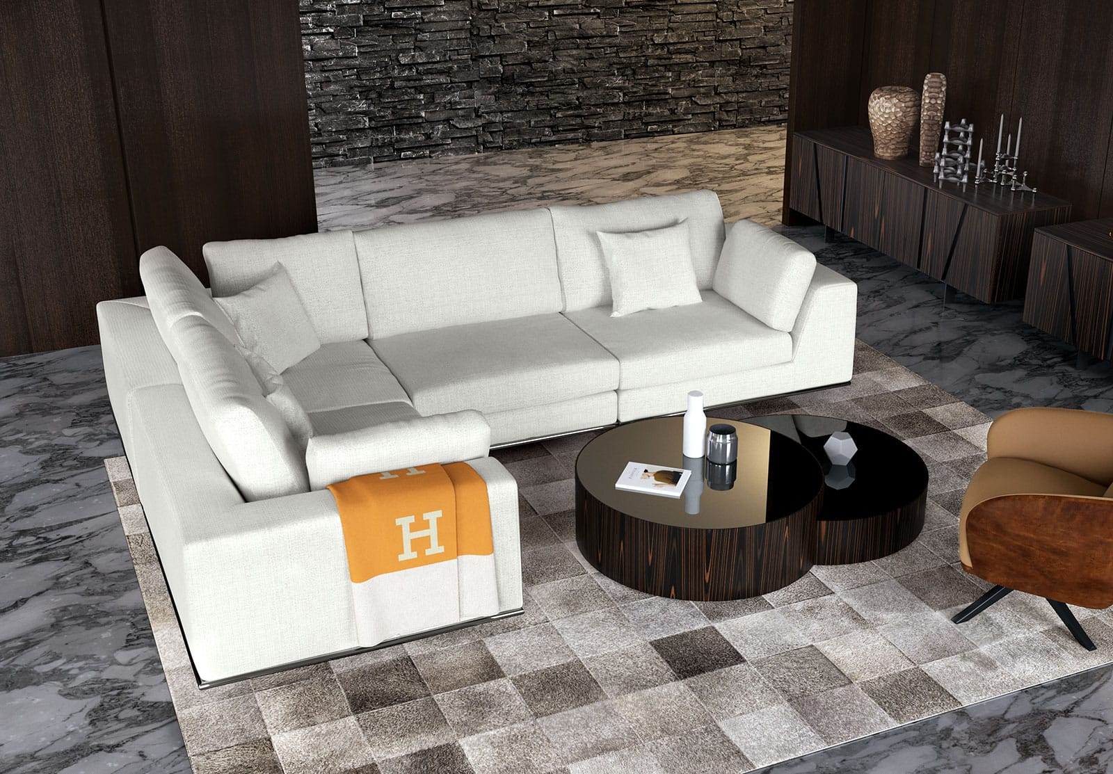 Perry L Sectional Sofa Moonbeam by Modloft