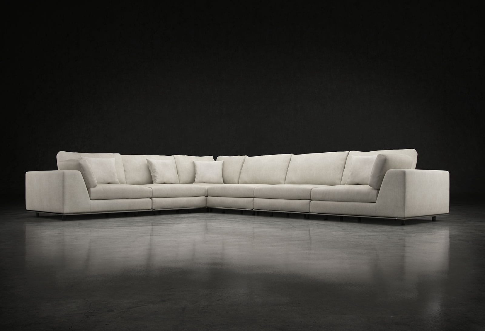 Perry Extended L Sectional Sofa Moonbeam by Modloft