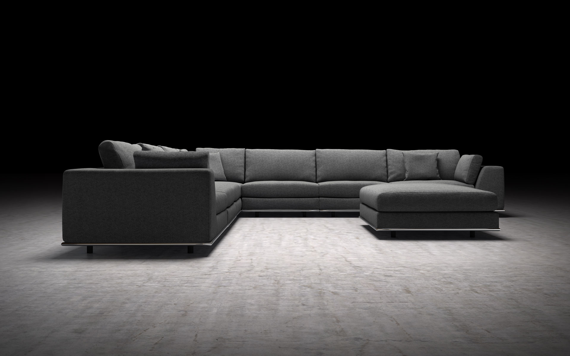 Sectional Sofa Shadow Gray By Modloft