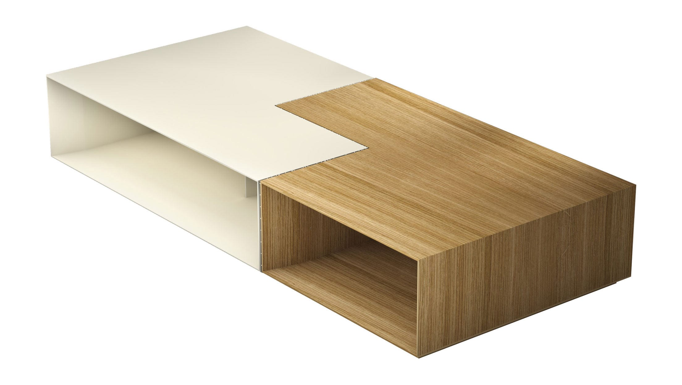 Putney Jigsaw Coffee Table Natural Oak and Matte Beige by Modloft