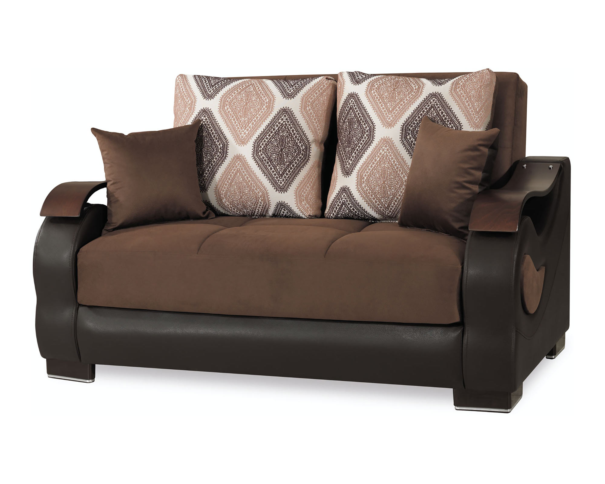 Metroplex Brown Microsuede Convertible Loveseat by Casamode