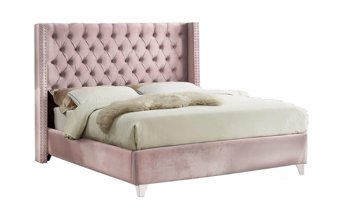 Aiden Pink Velvet Bed By Meridian Furniture