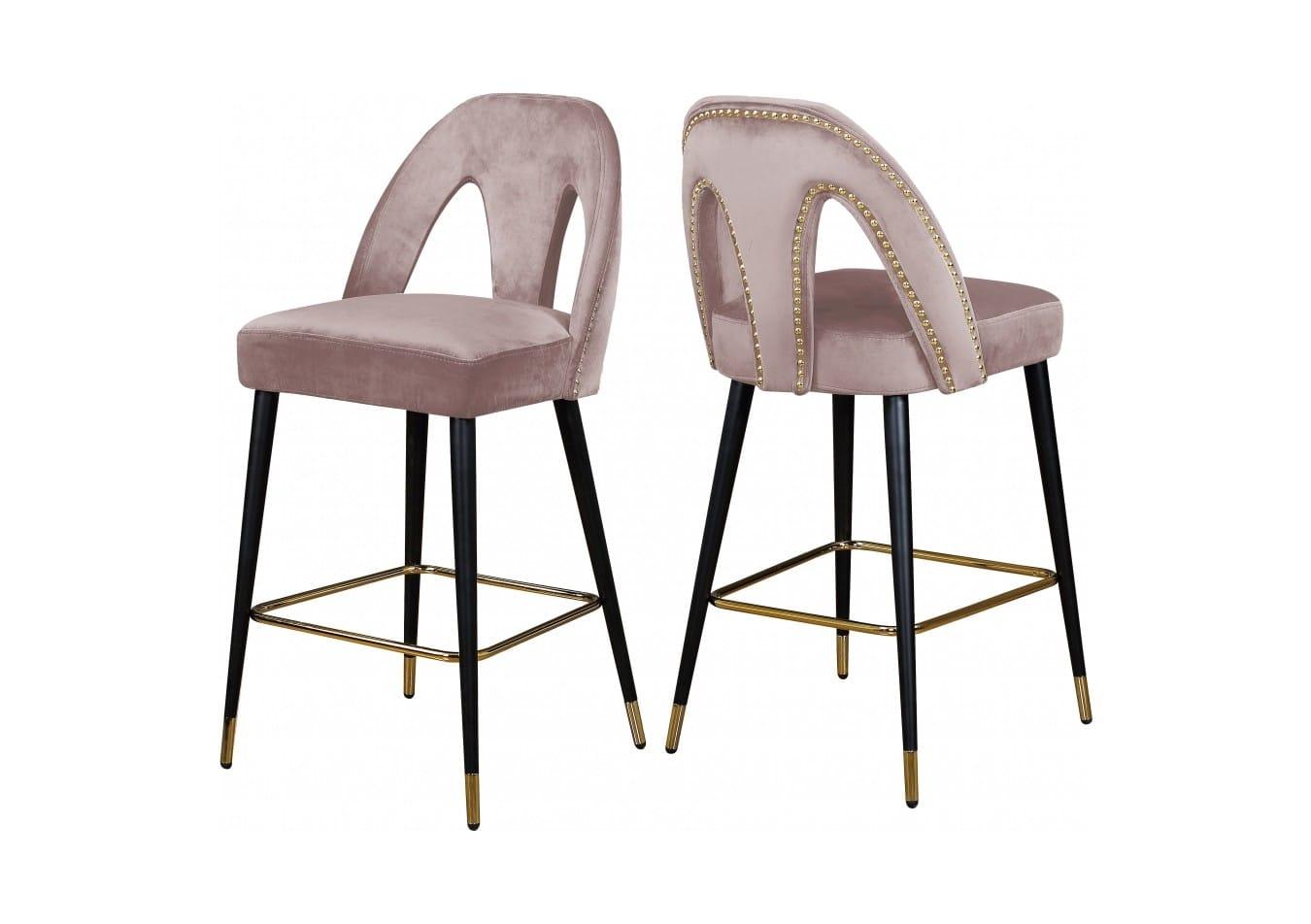 Awe Inspiring Akoya Pink Velvet Counter Stool Set Of 2 By Meridian Furniture Cjindustries Chair Design For Home Cjindustriesco