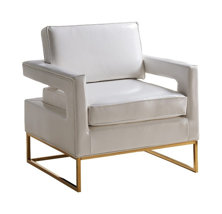 Stupendous Amelia White Leather Accent Chair By Meridian Furniture Ibusinesslaw Wood Chair Design Ideas Ibusinesslaworg