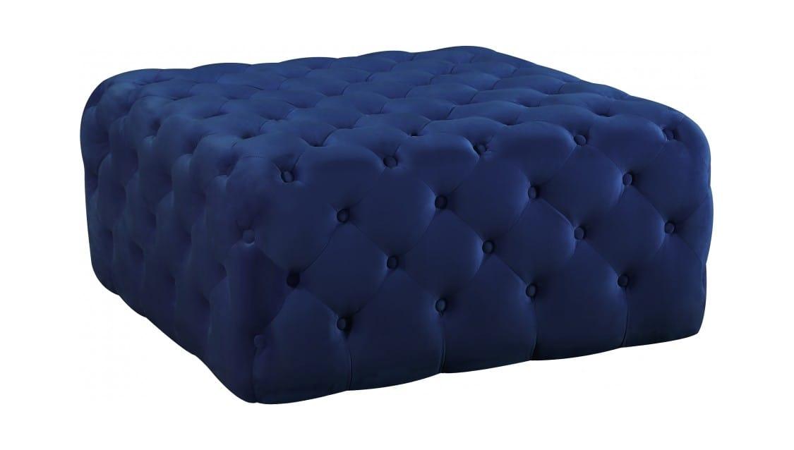 Ariel Navy Blue Velvet Ottoman Bench By Meridian Furniture