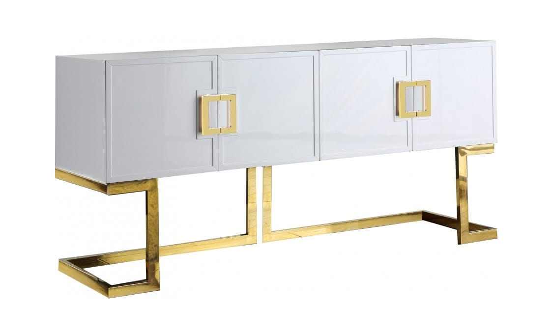 Picture of: Beth White Gold Wood Buffet Console Table By Meridian Furniture