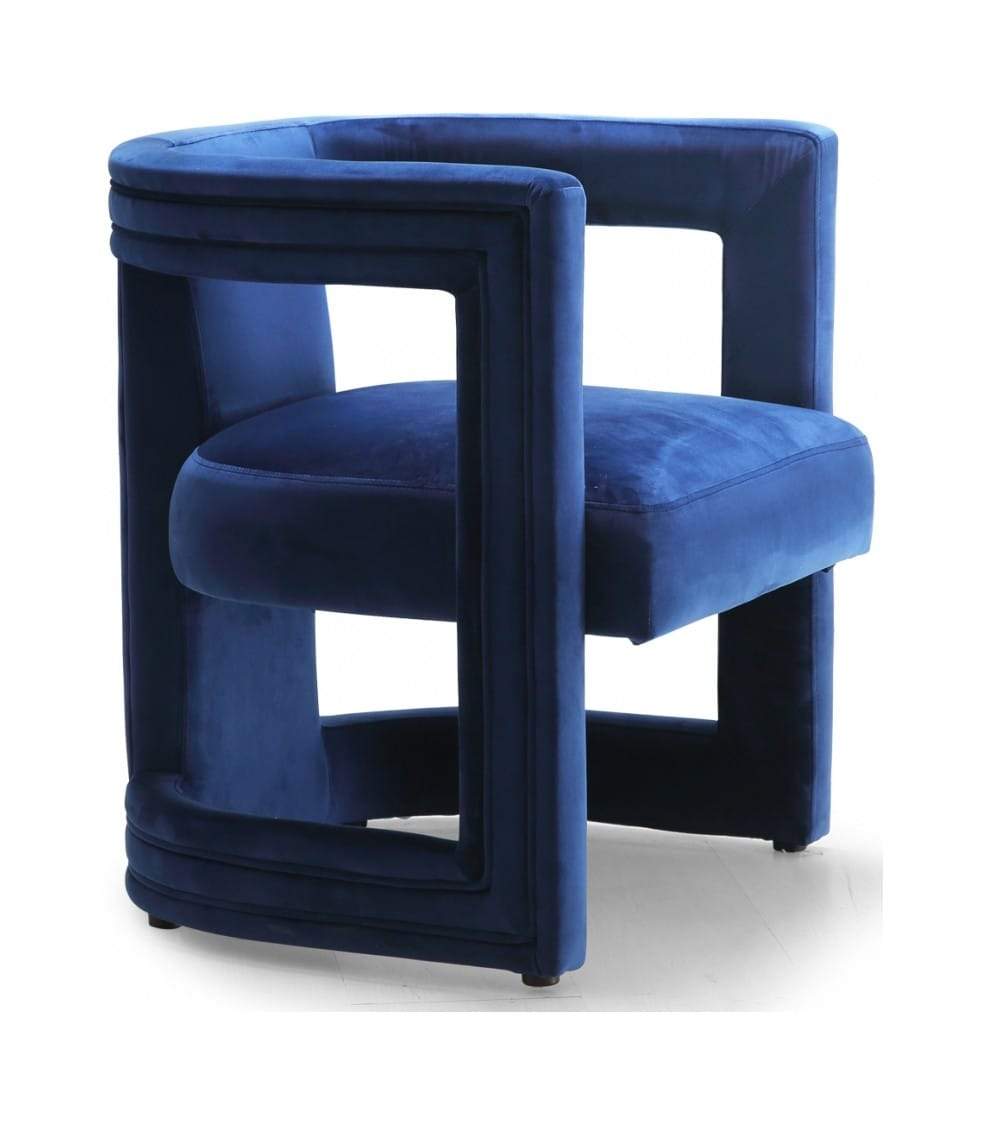 . Blair Navy Blue Velvet Accent Chair by Meridian Furniture