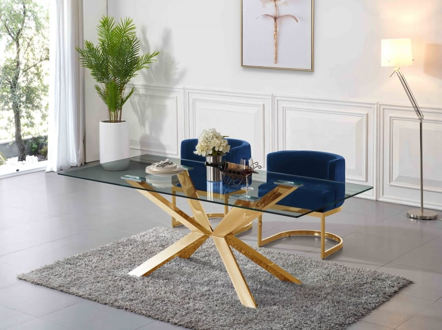 Capri Gold Glass Top Dining Table By Meridian Furniture
