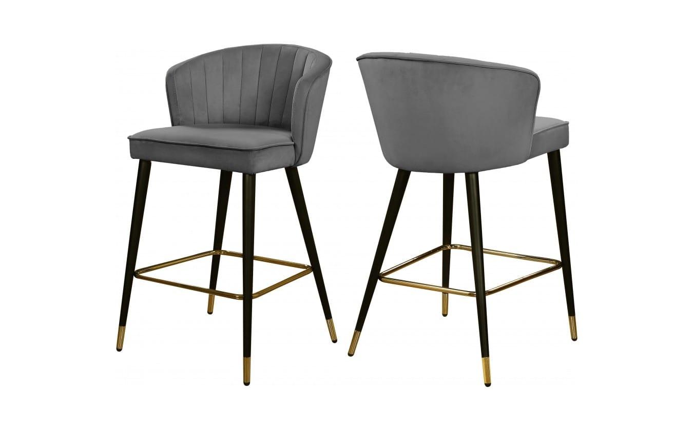 Cassie Grey Velvet Counter Stool (Set of 2) by Meridian Furniture