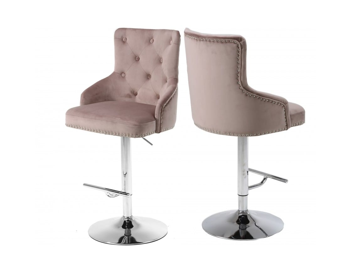 Wondrous Claude Pink Velvet Adjustable Bar Counter Stool Set Of 2 By Meridian Furniture Machost Co Dining Chair Design Ideas Machostcouk