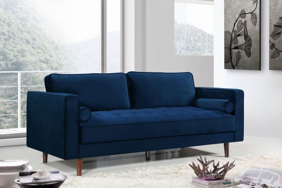 Emily Navy Blue Velvet Sofa by Meridian Furniture