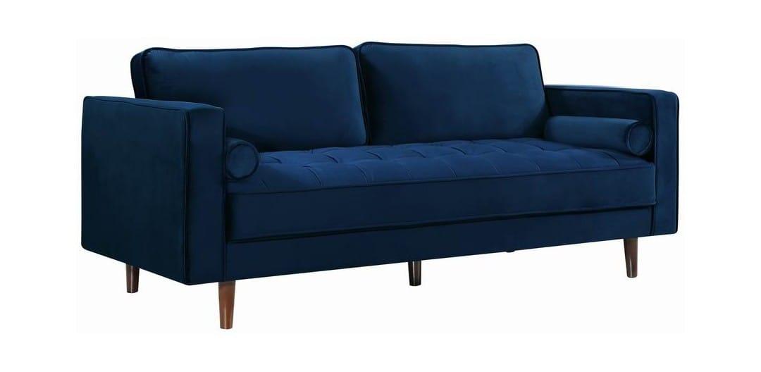 . Emily Navy Blue Velvet Sofa by Meridian Furniture