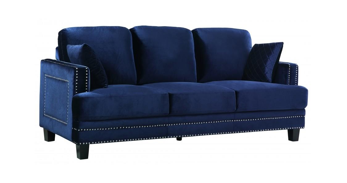 Ferrara Navy Blue Velvet Sofa by Meridian Furniture