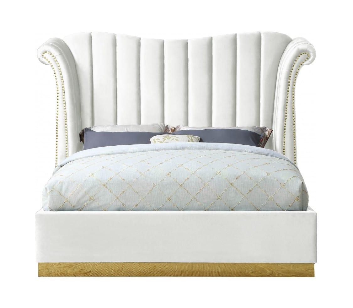 Flora White Velvet Bed By Meridian Furniture