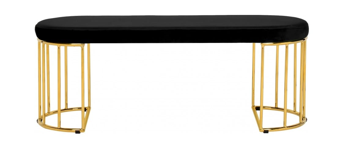 Tremendous Gio Black Gold Velvet Bench By Meridian Furniture Beatyapartments Chair Design Images Beatyapartmentscom