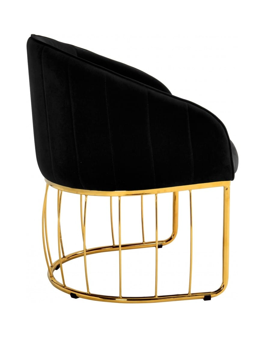 Miraculous Gio Black Velvet Accent Chair By Meridian Furniture Machost Co Dining Chair Design Ideas Machostcouk