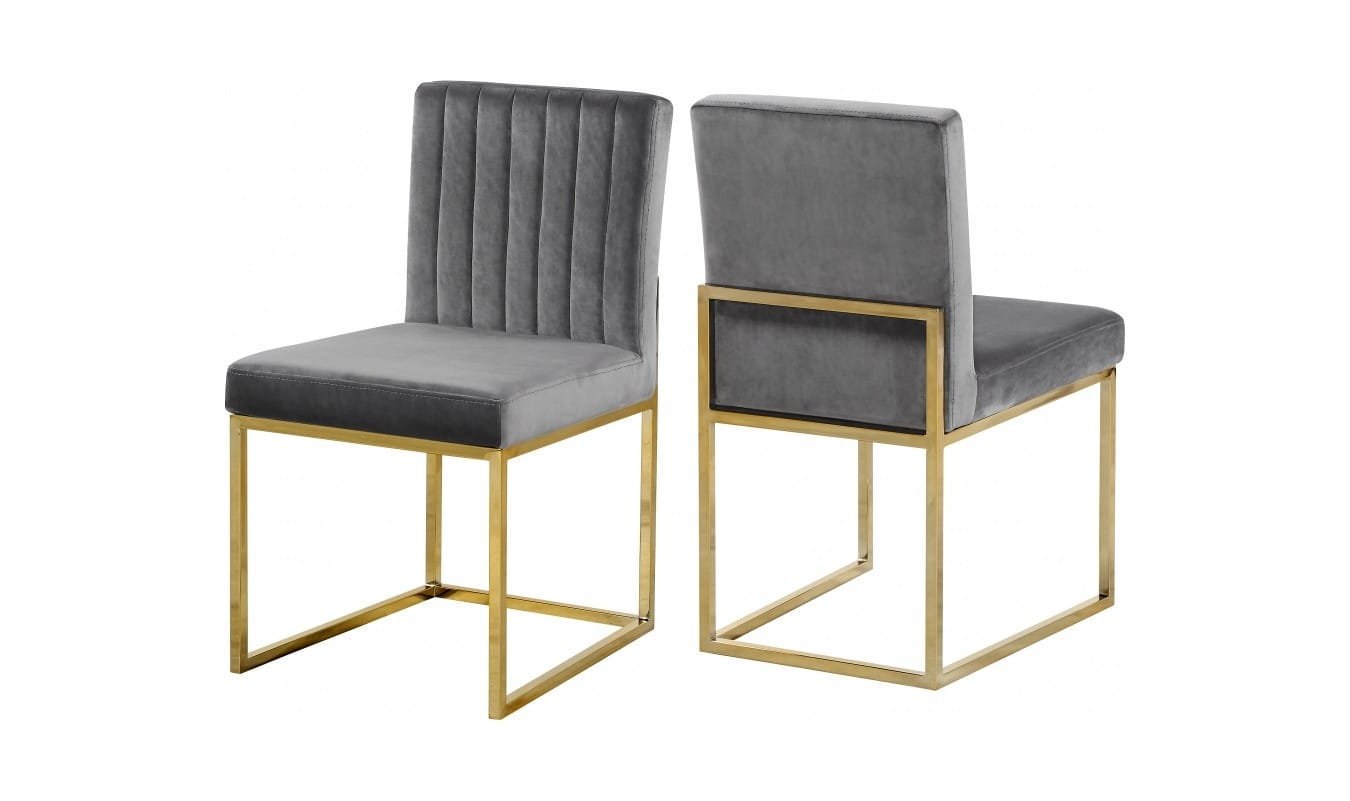 Giselle Grey Gold Velvet Dining Chairs Set Of 2 By Meridian Furniture