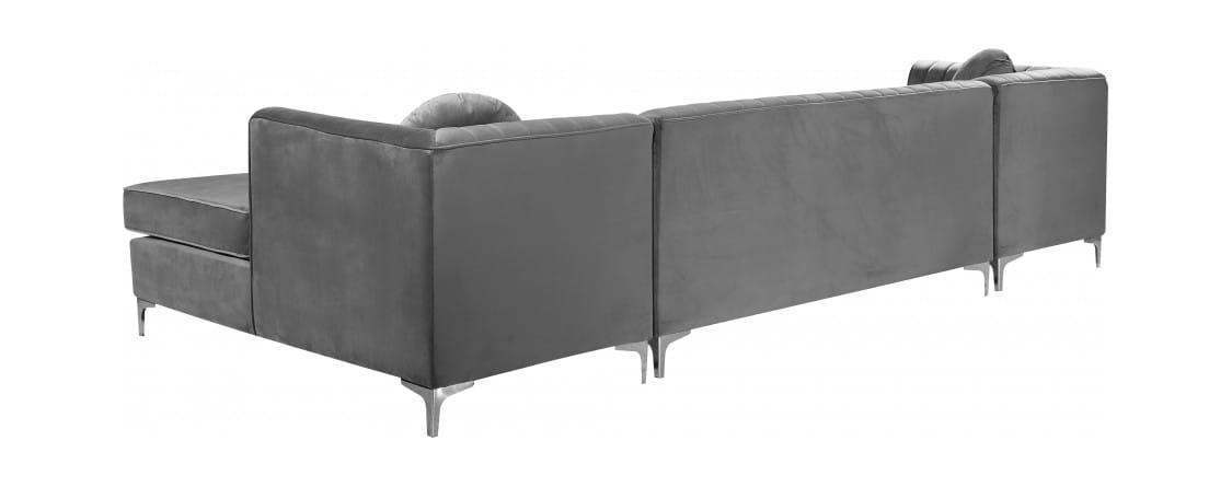 Super Graham Grey Velvet Three Piece Sectional Sofa By Meridian Furniture Short Links Chair Design For Home Short Linksinfo