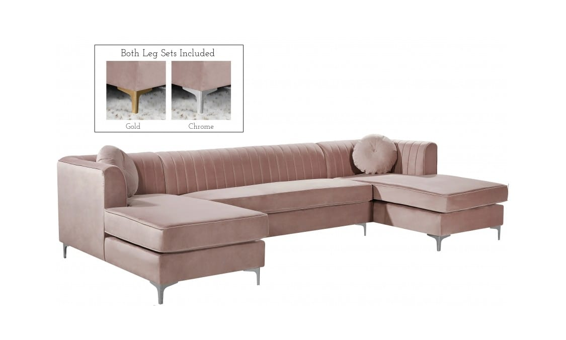 Picture of: Graham Pink Velvet Three Piece Sectional Sofa By Meridian Furniture