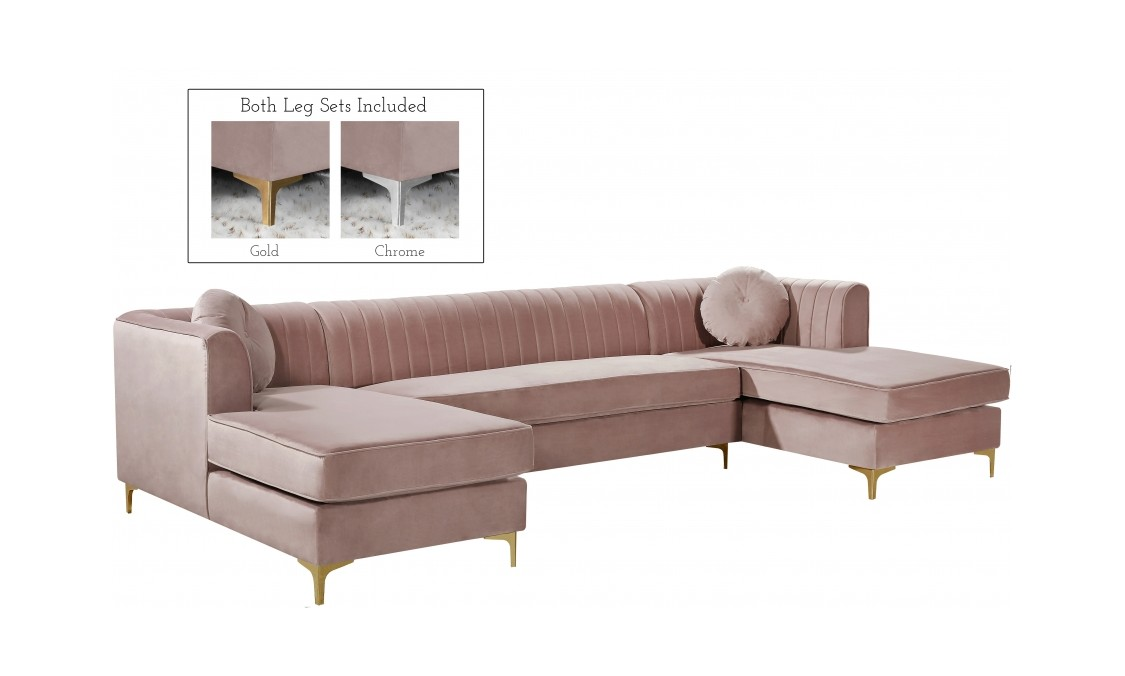 Fantastic Graham Pink Velvet Three Piece Sectional Sofa By Meridian Furniture Gmtry Best Dining Table And Chair Ideas Images Gmtryco