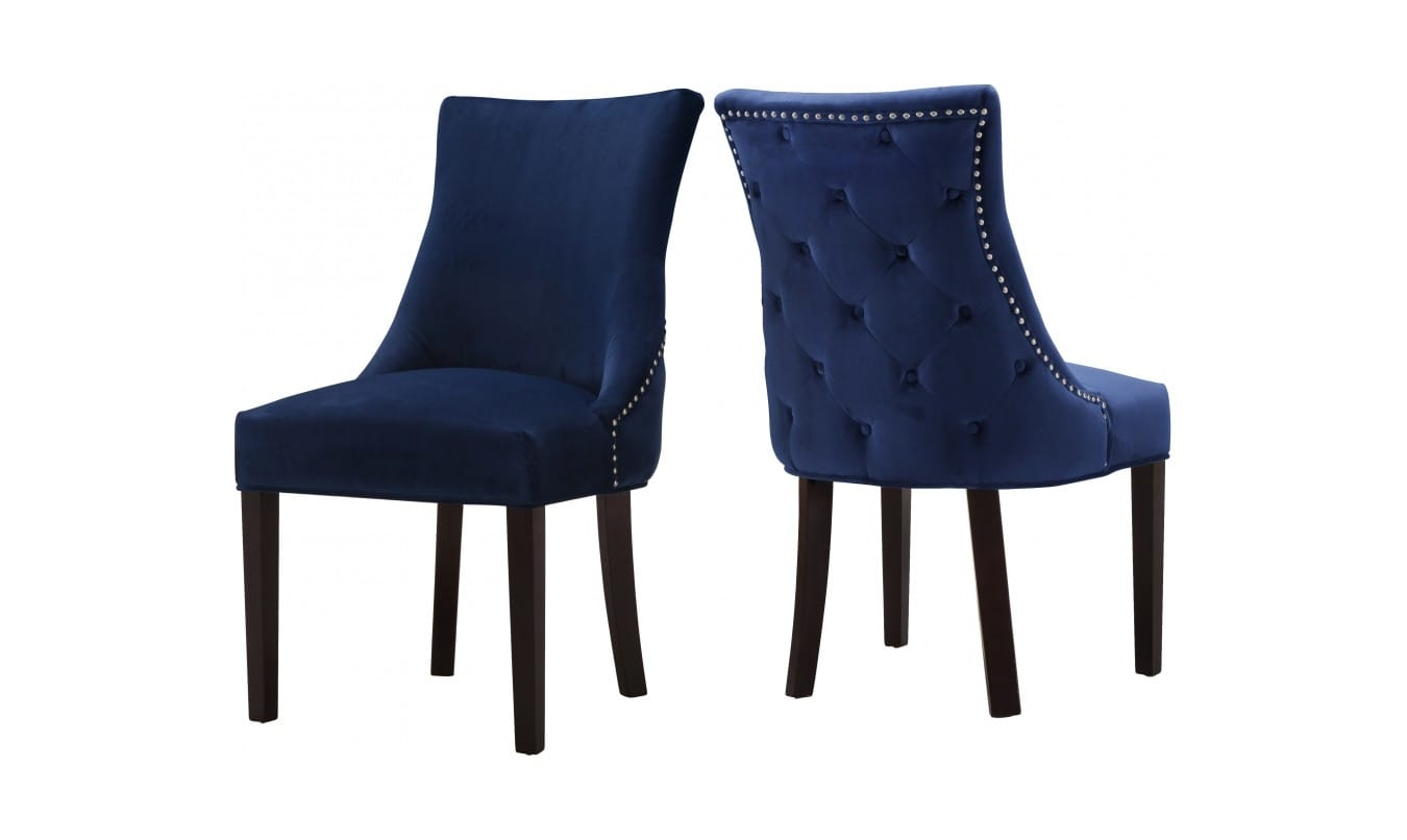 Hannah Navy Blue Velvet Dining Chairs Set Of 2 By Meridian Furniture