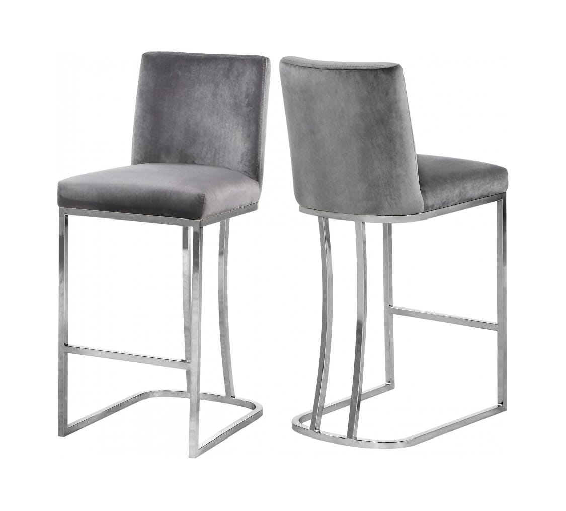 Fabulous Heidi Grey Velvet Counter Stool Set Of 2 By Meridian Furniture Creativecarmelina Interior Chair Design Creativecarmelinacom
