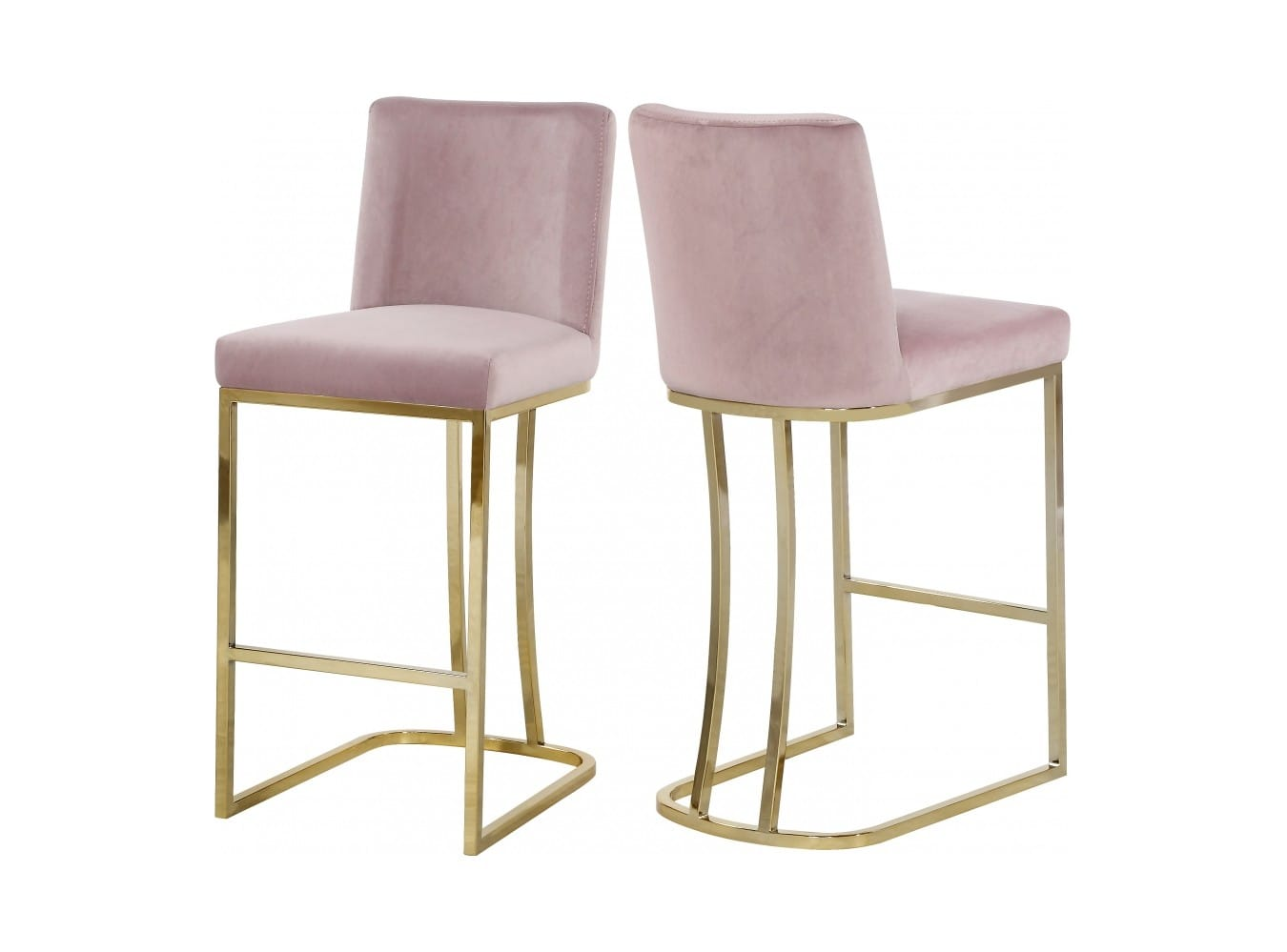 Fine Heidi Pink Velvet Counter Stool Set Of 2 By Meridian Furniture Machost Co Dining Chair Design Ideas Machostcouk