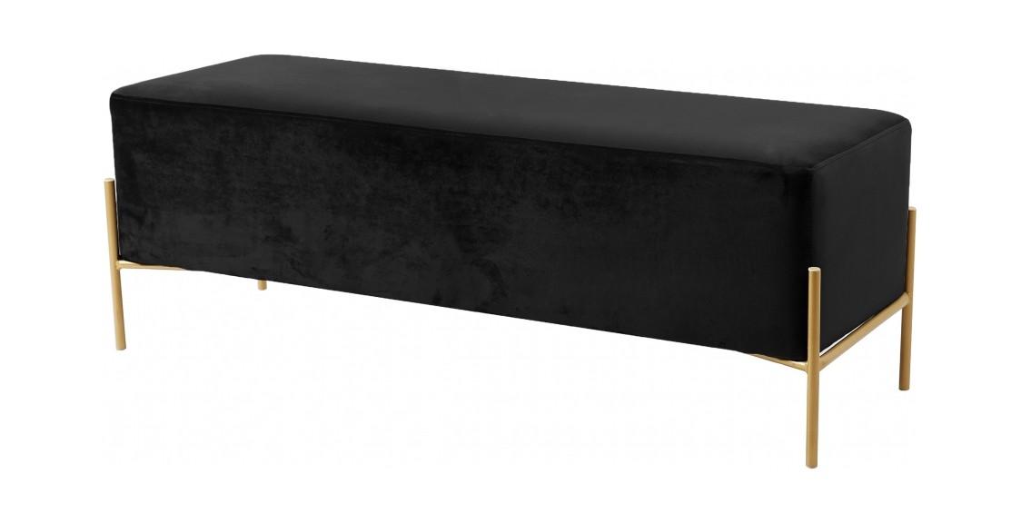 Isla Black Velvet Bench By Meridian Furniture
