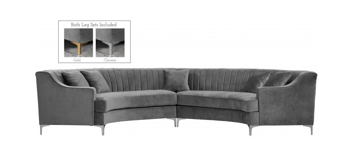 Fabulous Jackson Grey Velvet Two Piece Sectional Sofa By Meridian Furniture Gmtry Best Dining Table And Chair Ideas Images Gmtryco
