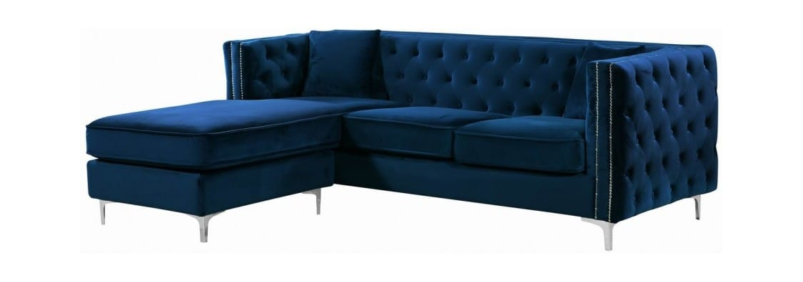 Jesse Navy Blue Velvet Two Piece Reversible Sectional Sofa by Meridian  Furniture